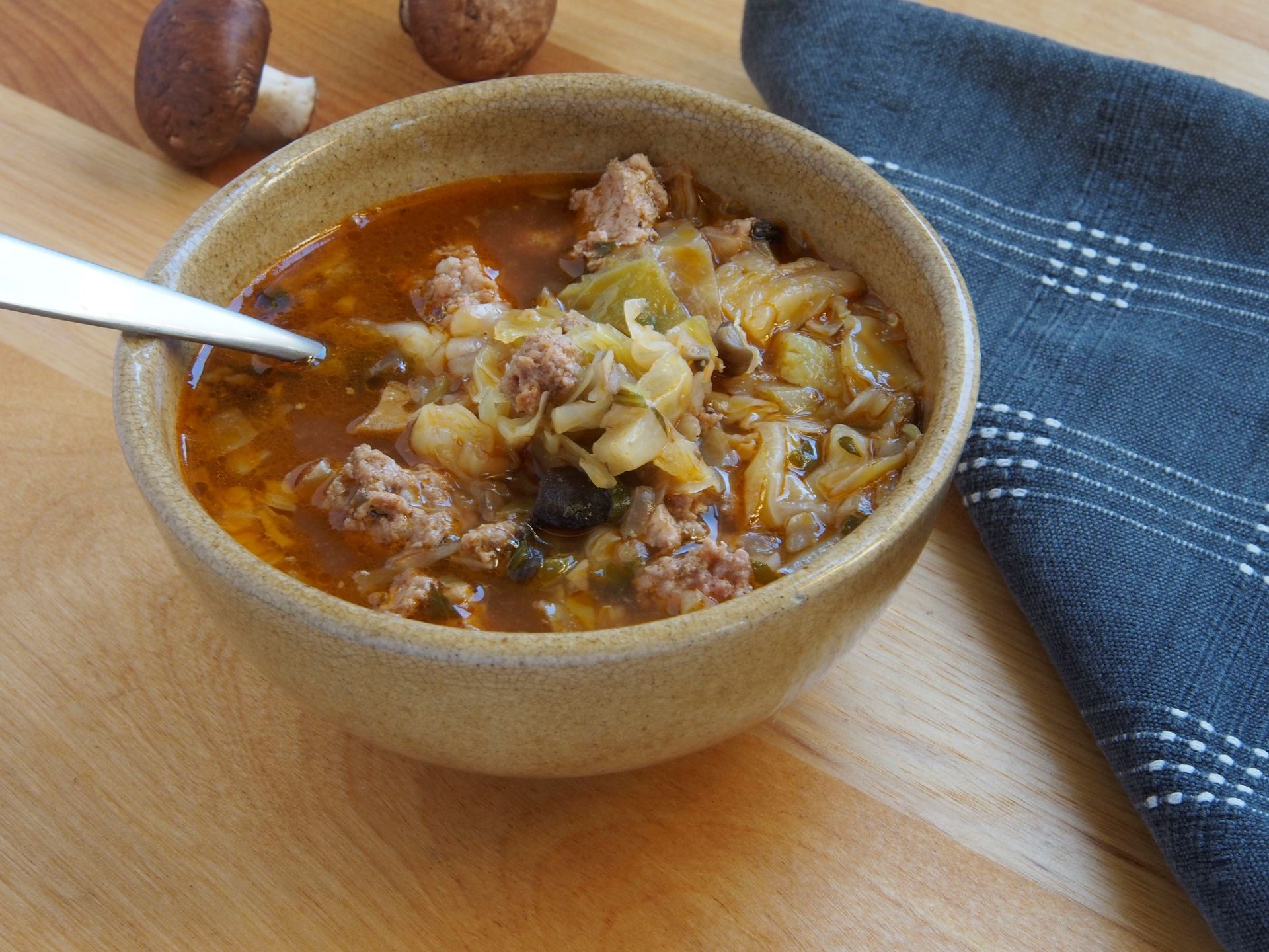 Picture of Frozen -- Mushroom, Sausage, Cabbage Soup 22 oz.