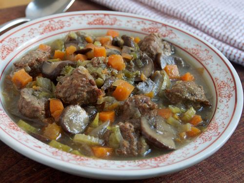 Picture of Frozen -- Vegetable-Mushroom Beef Polpettini Soup 22 oz.