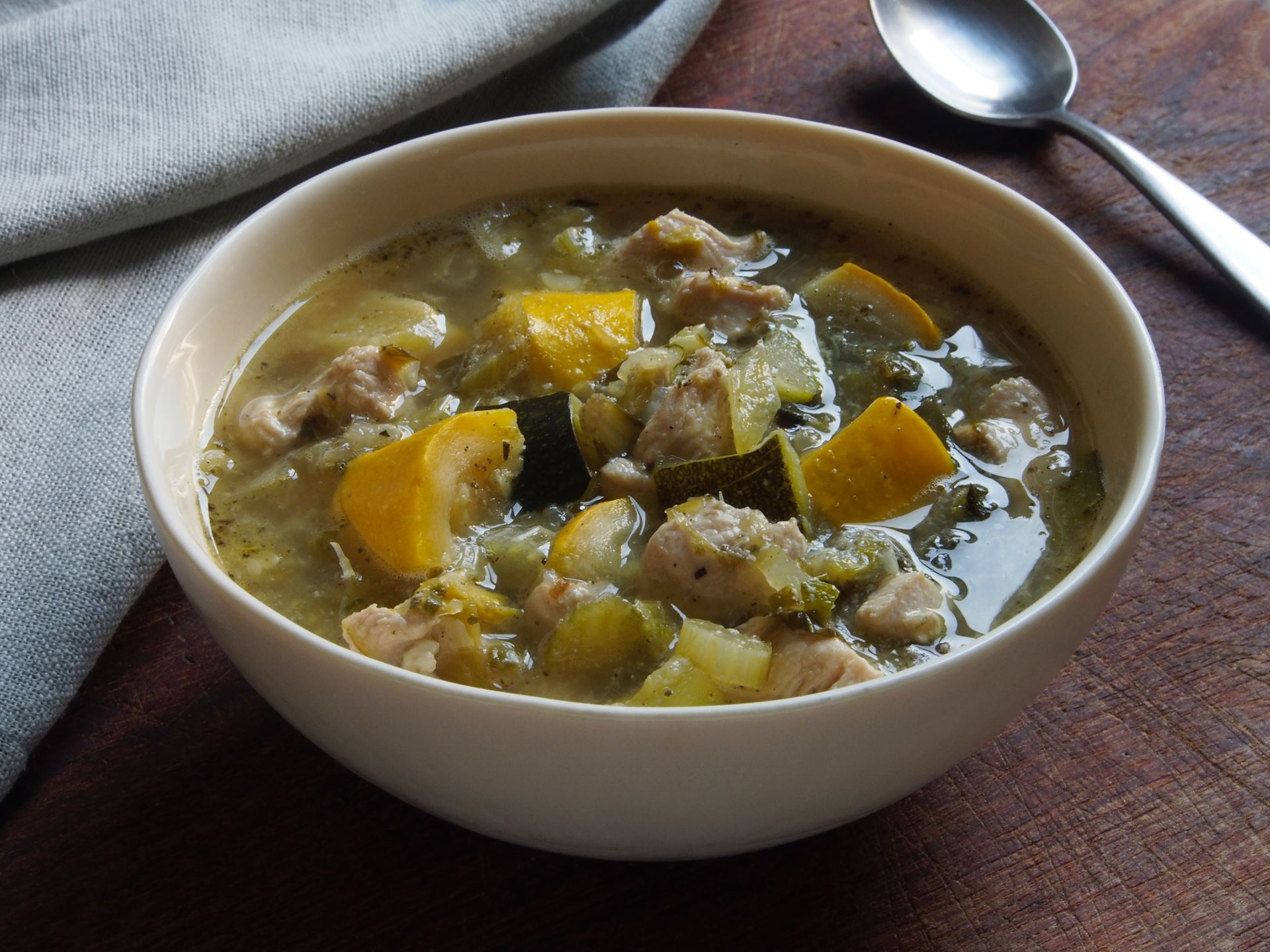 Picture of 22 oz -- Chicken-Vegetable Soup with Summer Squash and Chard